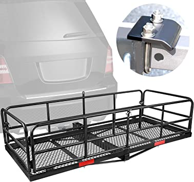 500lbs Folding Cargo Carrier Luggage Basket with Cargo Carrier Net /& Hitch Stabilizer Hitch Mount Cargo Carrier Cargo Carrier Hitch Mount Basket Thick Steel Constructed Fits to 2 Receiver