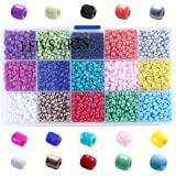 Efivs Arts 2500pcs Multicolor 4mm Loose Beads Porcelain Beads for DIY Bracelets,Necklaces, Key Chains and Kid Jewelry Bead Box Kit J002