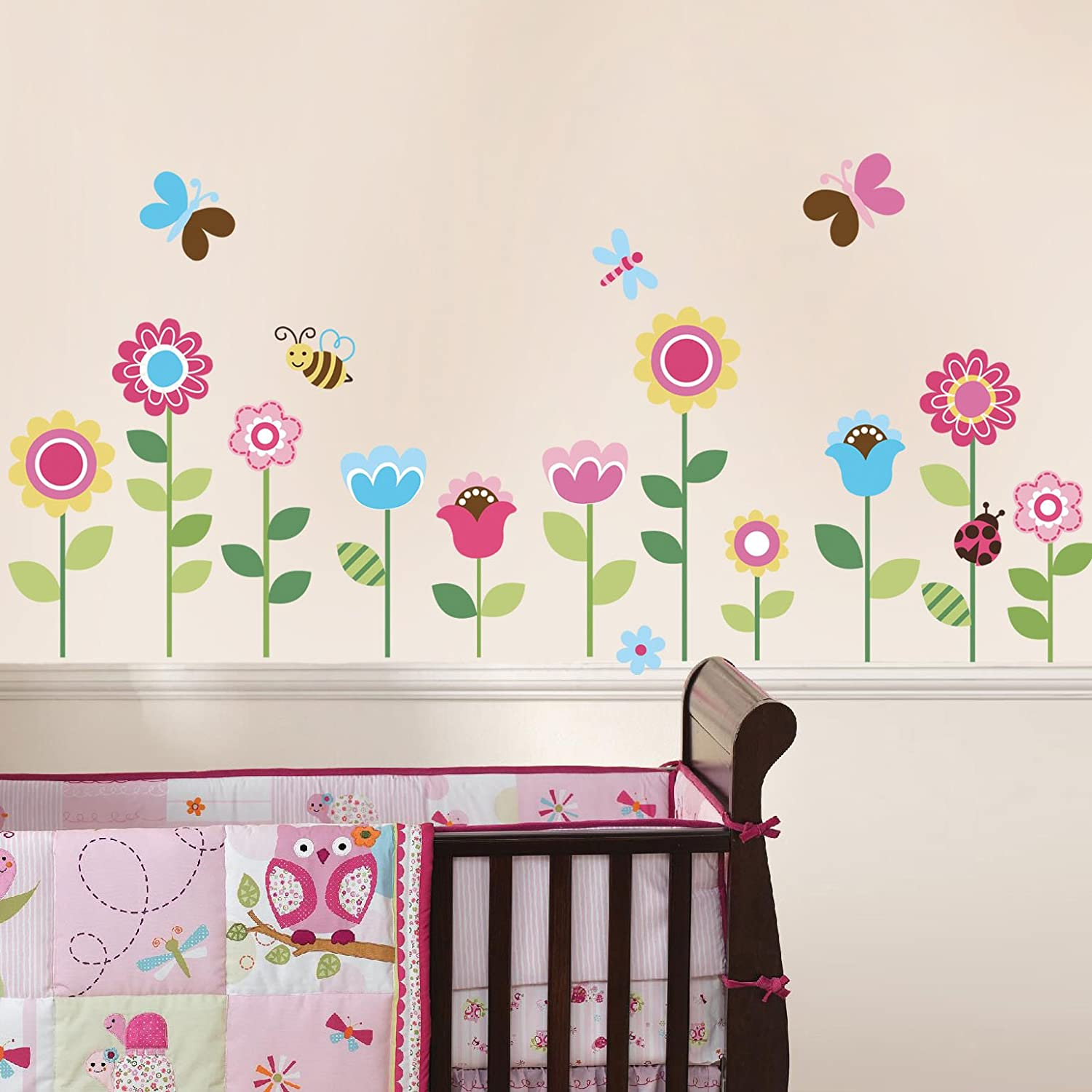 Kids room wall decor stickers - Amazon Com Garden Flowers Baby Nursery Peel Stick Wall Sticker Decals Baby