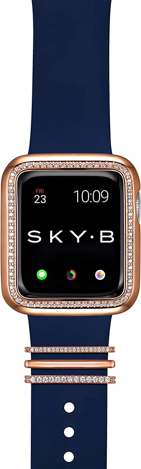 SKYB Halo Apple Watch Case with Milan Watch Band Charms and Silicone Sports Band Set - 14K Rose Gold Plated with Cubic Zirconia for 40mm Apple Watch Series 4, 5