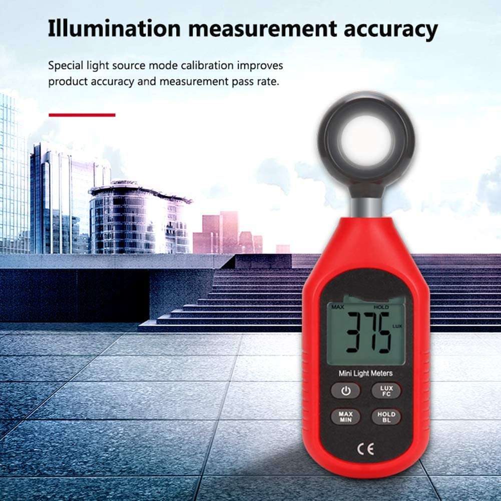 HLL Mini Illuminance Meter,0~199999Lux Handheld Digital Light Meter Brightness Illuminance Meter Light Photometer Environmental Test