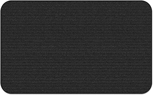 House, Home and More Indoor Outdoor Double-Ribbed Carpet Area Rug with Skid-Resistant Rubber Backing – Smokey Black – 6 Feet X 9 Feet