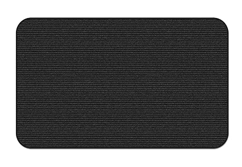 House, Home and More Indoor Outdoor Double-Ribbed Carpet Area Rug with Skid-Resistant Rubber Backing – Smokey Black – 3 Feet X 5 Feet