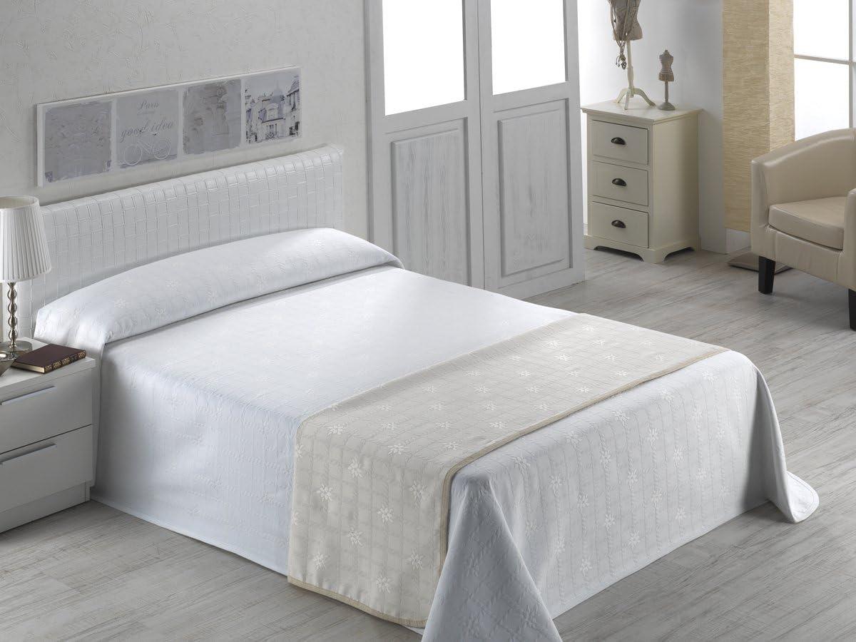 SABANALIA - Colcha de piqué Roseta - Cama 150-250 x 280, Blanco