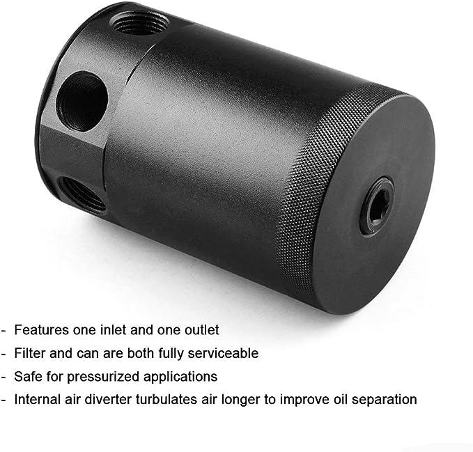 Lega di alluminio nero ad alte prestazioni Pudincoco Universal RACING BAFFLED Carico di alluminio a 3 vie Catch Can per veicoli universali nero