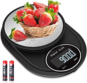Digital Kitchen Scale, ARGIGU 22lb/10kg Multifunction Food Scale, Cooking Pocket Scale with Backlit LCD Display, 7Units, Tare & Auto Off, Stainless Steel(Batteries Included)