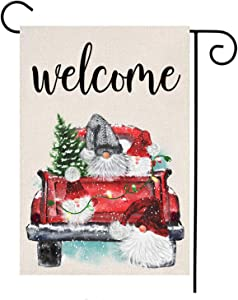 MFGNEH Welcome Gnomes Vertical Double Sided Christmas Decorations Garden Flag Christmas Tree with Vintage Red Truck Farmhouse Burlap Yard Lawn Outdoor Decor 12 x 18 Inch