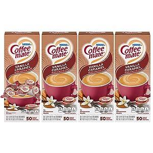 Nestle Coffee-mate Coffee Creamer, Vanilla Caramel, Liquid Creamer Singles, Box of 50 Singles (Pack of 4)