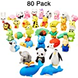 Leinuosen 80 Pieces Japanese Pencil Animal Erasers Cute Mini Puzzle Zoo Animal Erasers for Novelty Party Gifts, School Classroom Rewards Gift Fillers Carnival Prizes (Random Designs)
