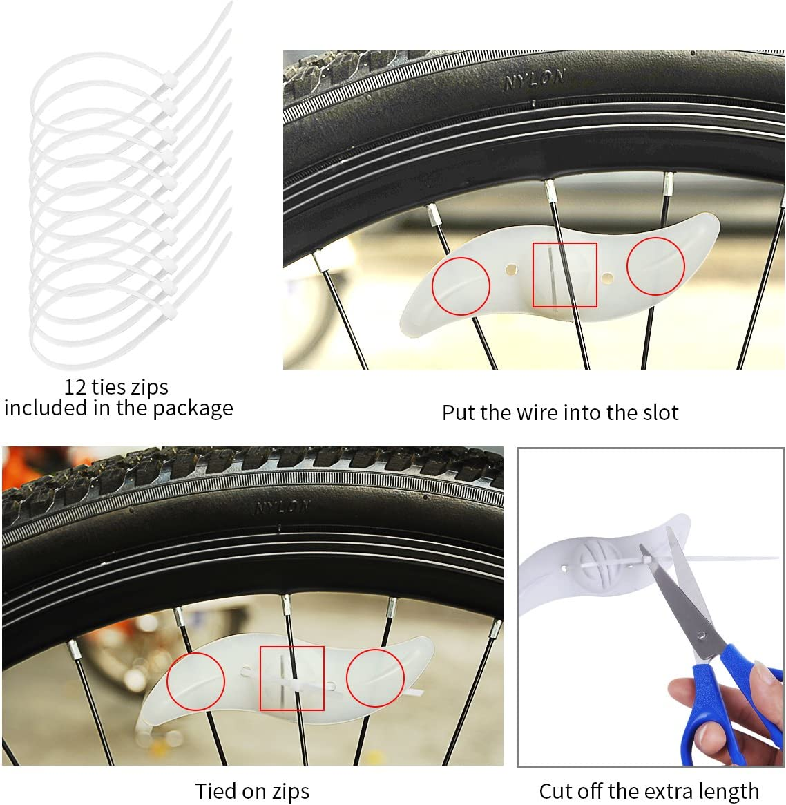 Bike Wheel Light,Tyre Wire Right with Flash Model Neon Lamps,Bike Safety Alarm Light. willceal Bike Spoke Light