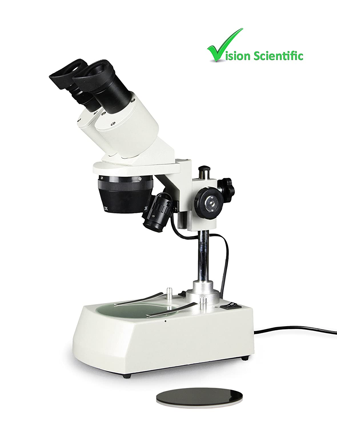 10X 20x Vision Scientific VMS0002-LD-123 Tri-Power Binocular Stereo Microscope Top and Bottom LED Illumination Post-Mounted Stand Paired 10X WF Eyepiece 1X,2X,3X Objective 30X Magnification