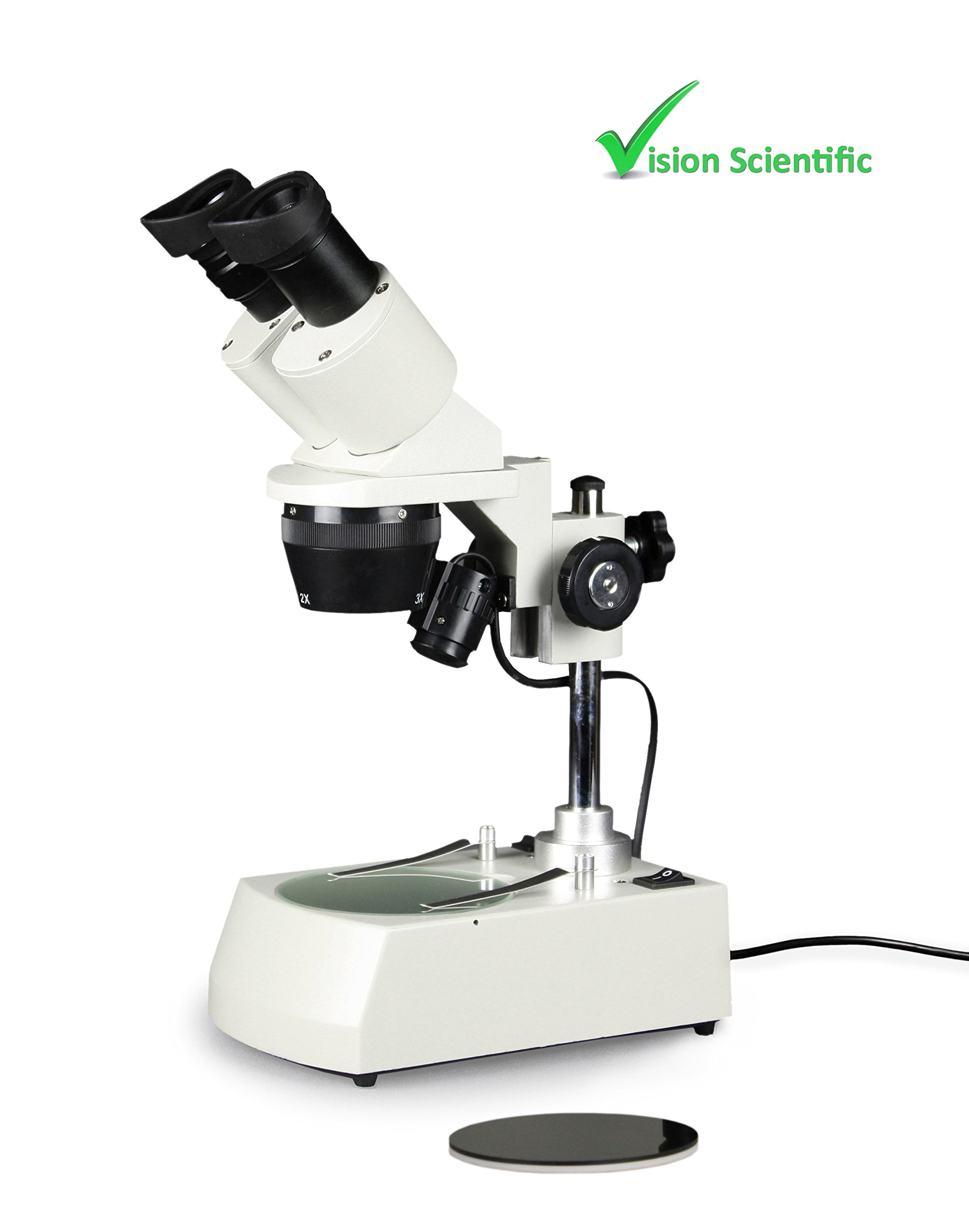 Vision Scientific VMS0002-LD-123 Tri-Power Binocular Stereo Microscope, 1X,2X,3X Objective, Paired 10X WF Eyepiece, 10X - 20x - 30X Magnification, Top and Bottom LED Illumination, Post-Mounted Stand by Vision Scientific