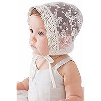 Baby Girls Eyelet Lace Breathable Bonnet Sun Protection Hat Christening Bonnet