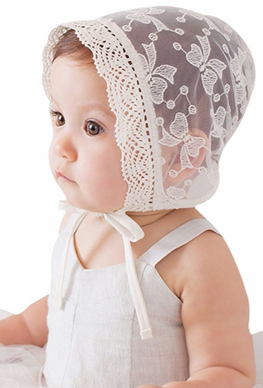 Bigface Up Little Kids Toddlers Eyelet Lace Breathable Bonnet With Flower Hat (Bowknot pattern)