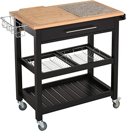 HOMCOM Rolling Mobile Kitchen Island Cart
