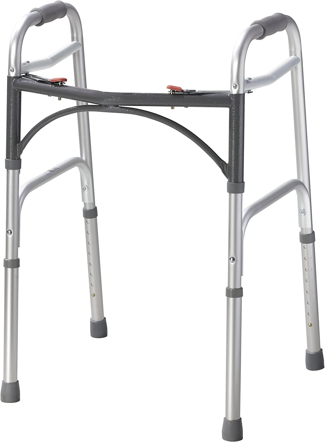 Drive Medical 10200-1 Deluxe Two Button Folding Walker, Silver: Health & Personal Care