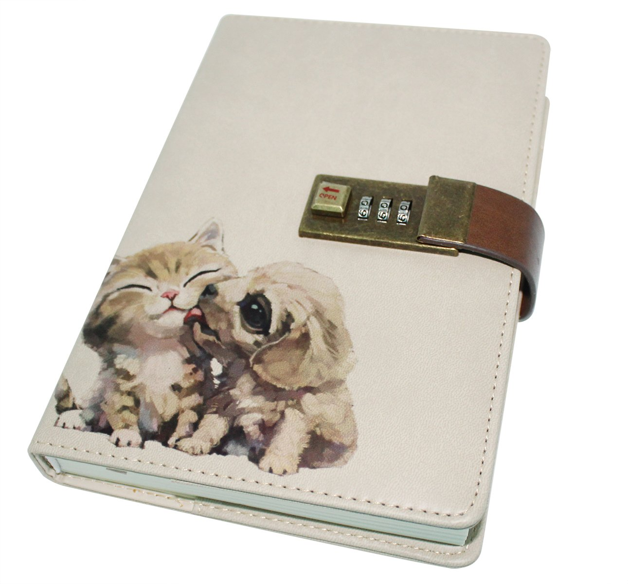 CC-US PU Leather Notebook with Combination Lock Pen Holder Diary Journal Sketchbook Notepad Planner, B6 Size, 224 Pages