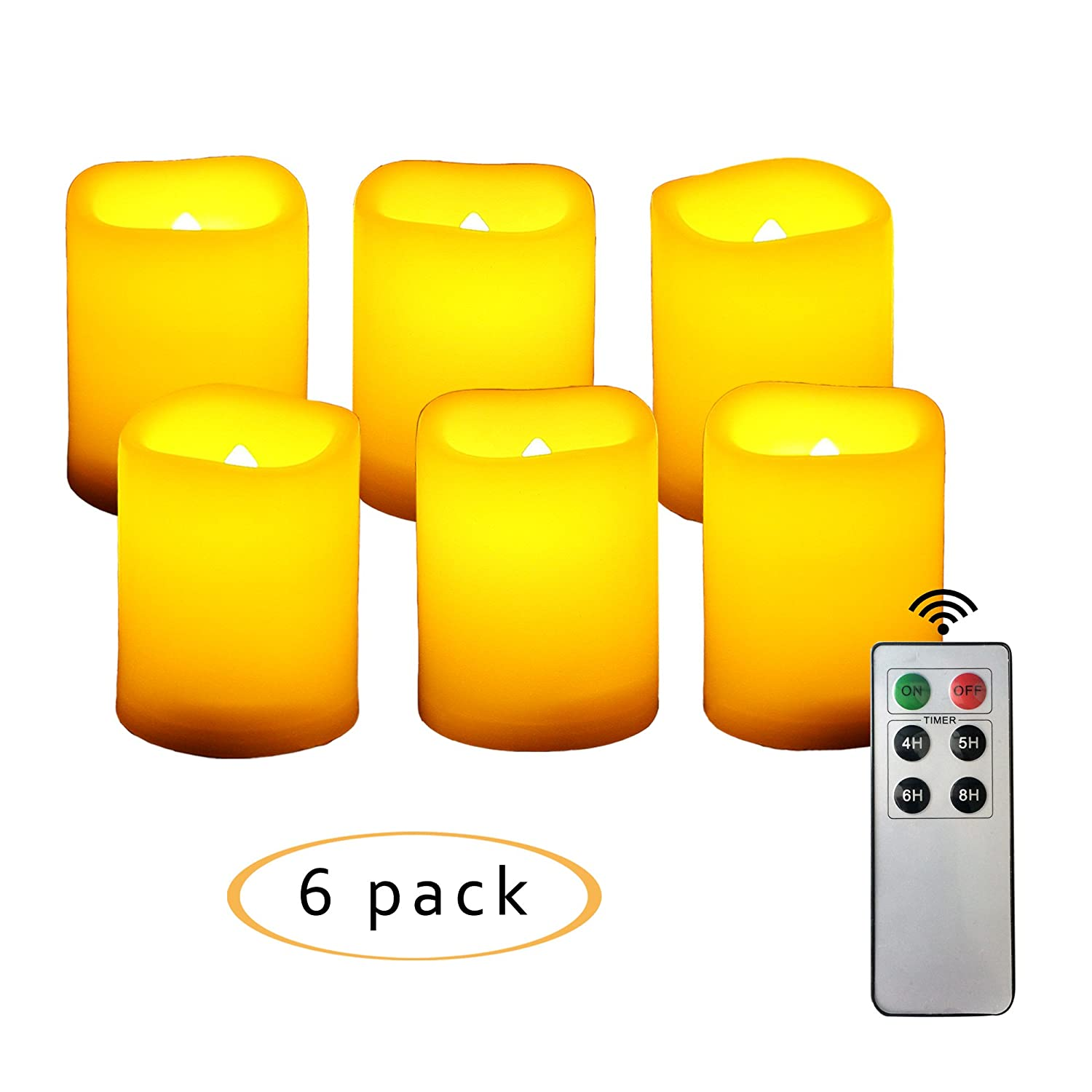 CANDLE CHOICE 6 PCS Realistic Flickering Flameless Candles, LED Votives, Battery-operated Tea Lights with Remote and Timer, Long Lasting, 1.5