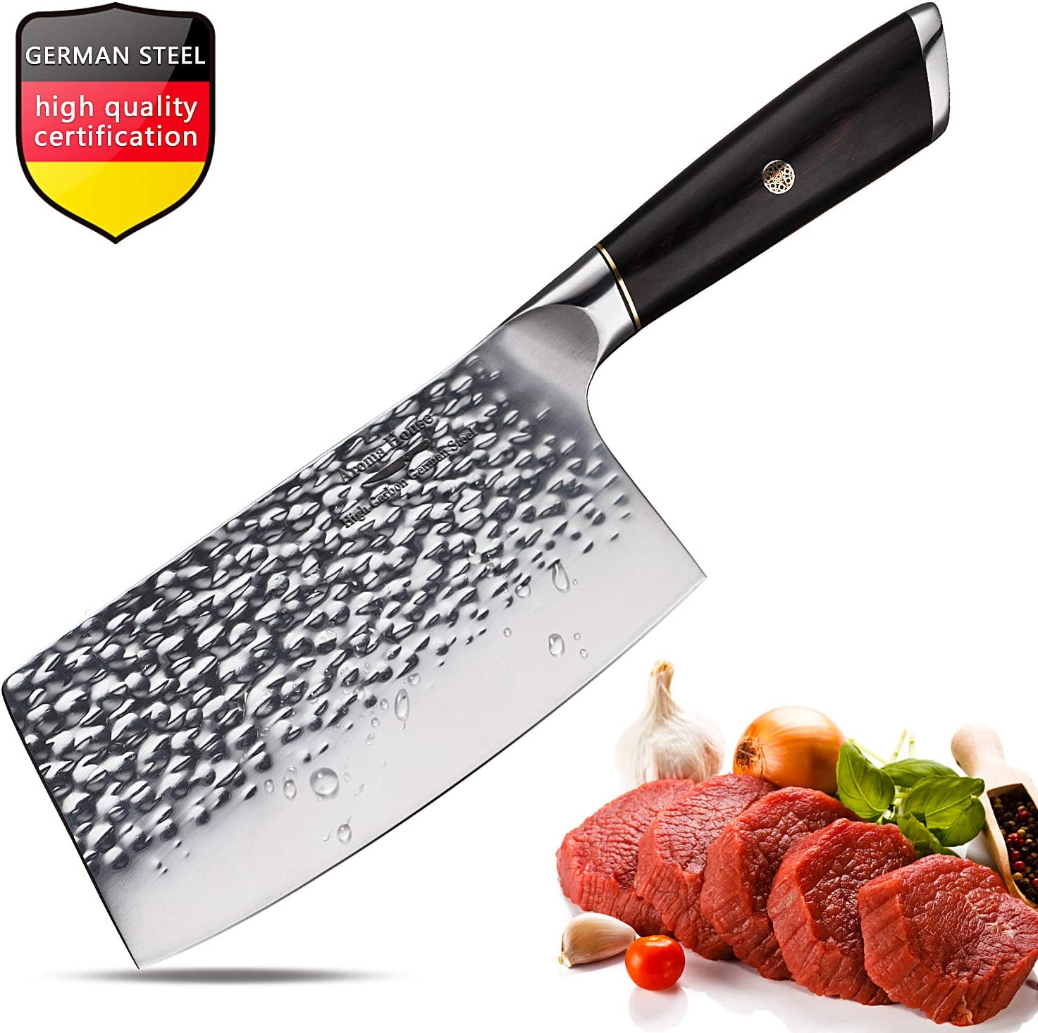Meat Cleaver,Chinese Chef Knife,7 Inch Vegetable Kitchen Knife,German Stainless-Steel Chopper Cleaver Butcher Knife for Home Kitchen or Restaurant (German Steel Kitchen Knife)
