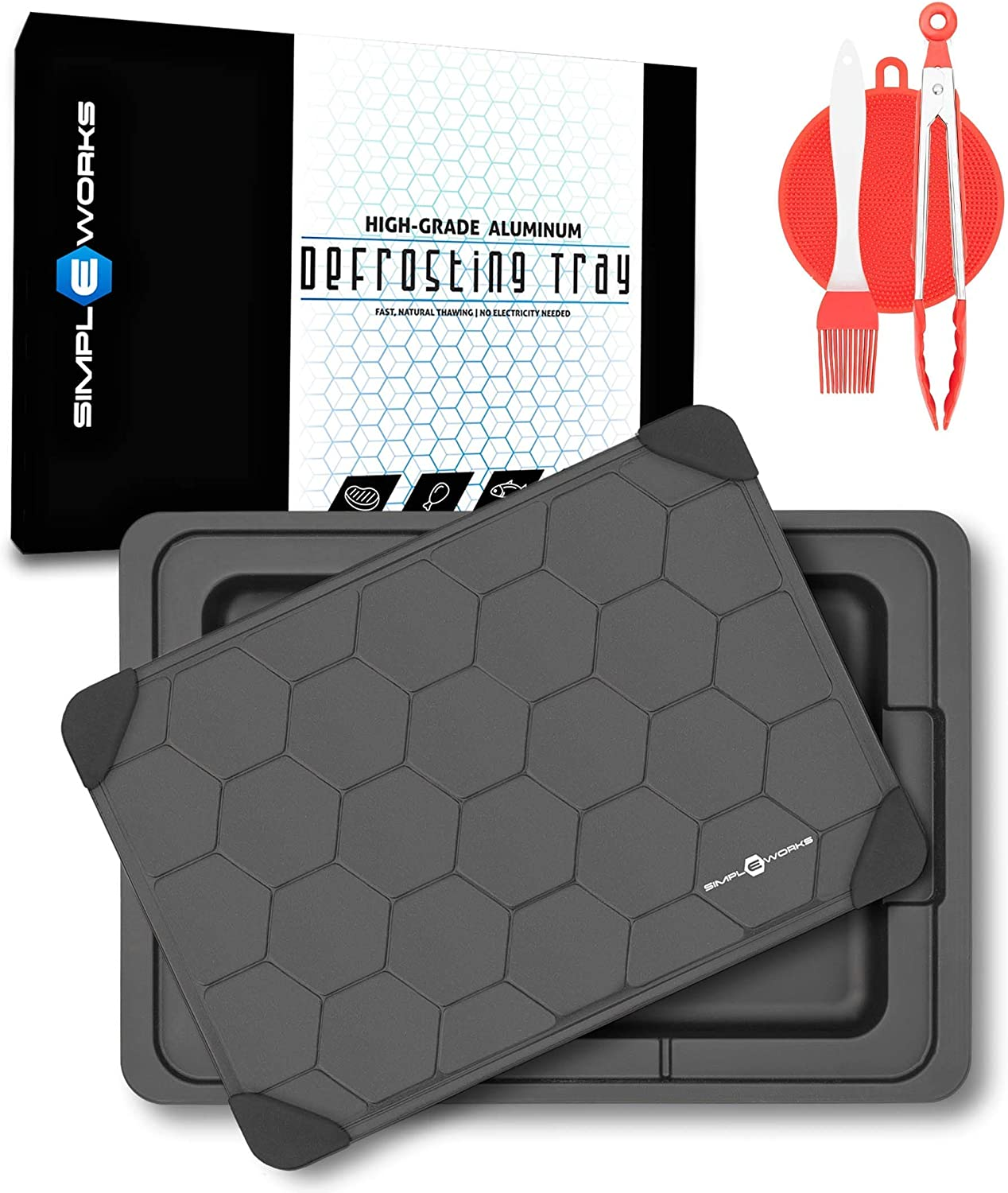 simplEworks Defrosting Tray | High-Grade Aluminum Fast Defrosting Tray with Drip Pan and Bonus Accessories | Defrosting Plate for Meat | Standard Size Thawing Plate | Naturally Thaw Frozen Food
