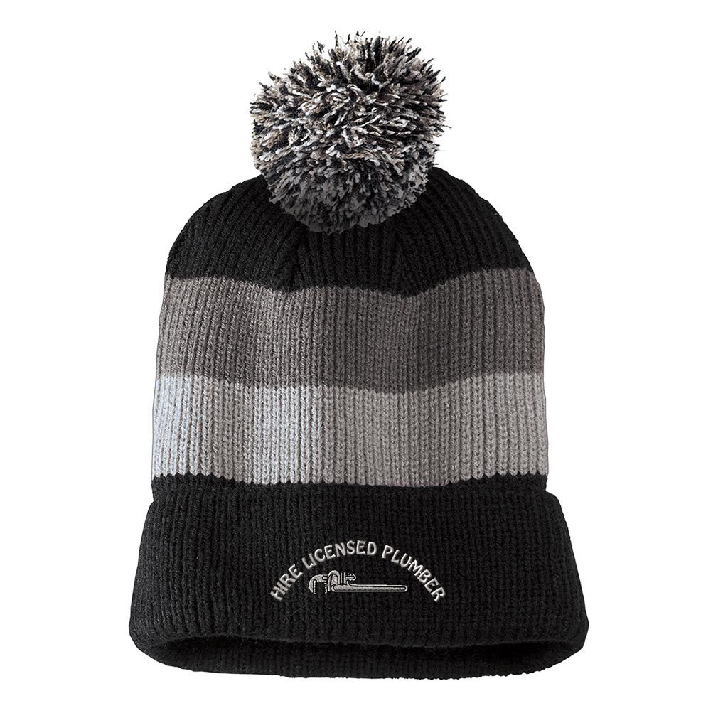 0ae38c32824 Amazon.com  Hire Licensed Plumber Embroidered Unisex Adult Acrylic Vintage  Striped Removable Pom Pom Beanie Winter Hat - Black Grey Stripes