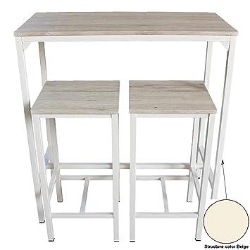 Mod. BRASIL Set Mesa Bar y 2 taburetes muebles cocina Sillas Design
