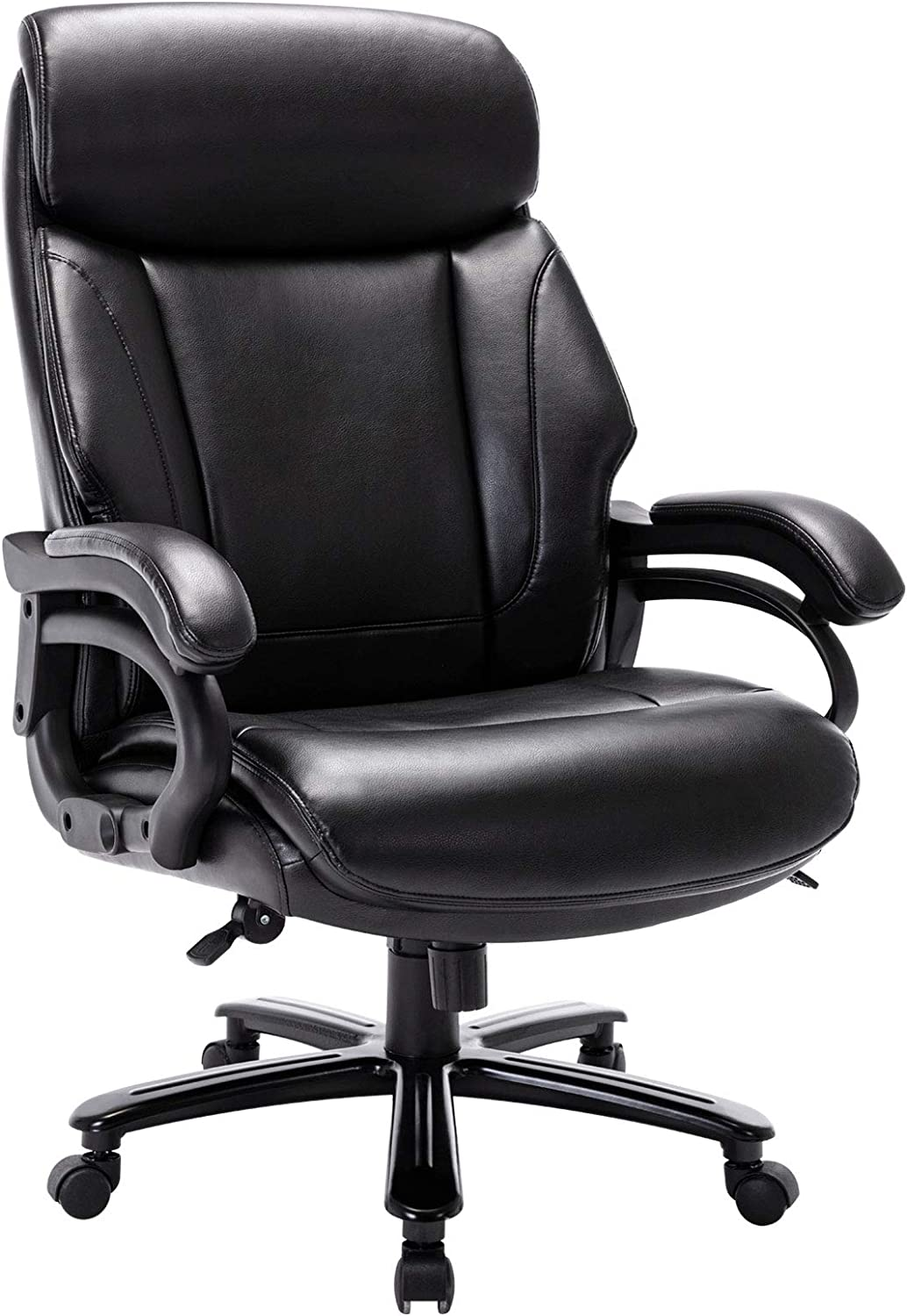 STARSPACE High Back Big & Tall 400lb Bonded Leather Office Chair Large Executive Desk Computer Swivel Chair - Heavy Duty Metal Base, Adjustable Tilt Angle, Ergonomic Design for Lumbar Support: Office Products