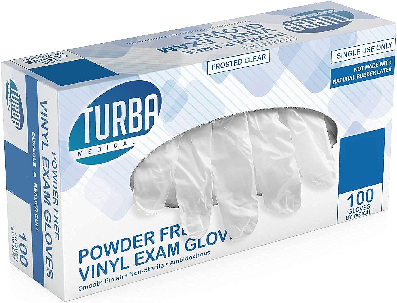 Disposable Vinyl Gloves 100 Non Sterile Powder Latex Free Glove Food Safe -Turba