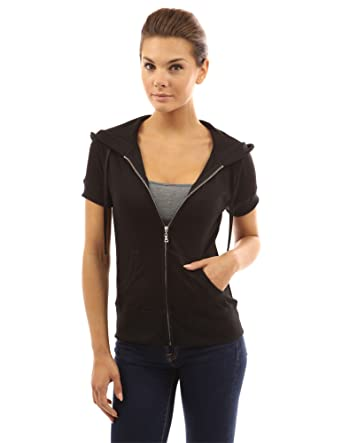 PattyBoutik Women's Hoodie Zip Up Short Sleeve Jacket at Amazon ...