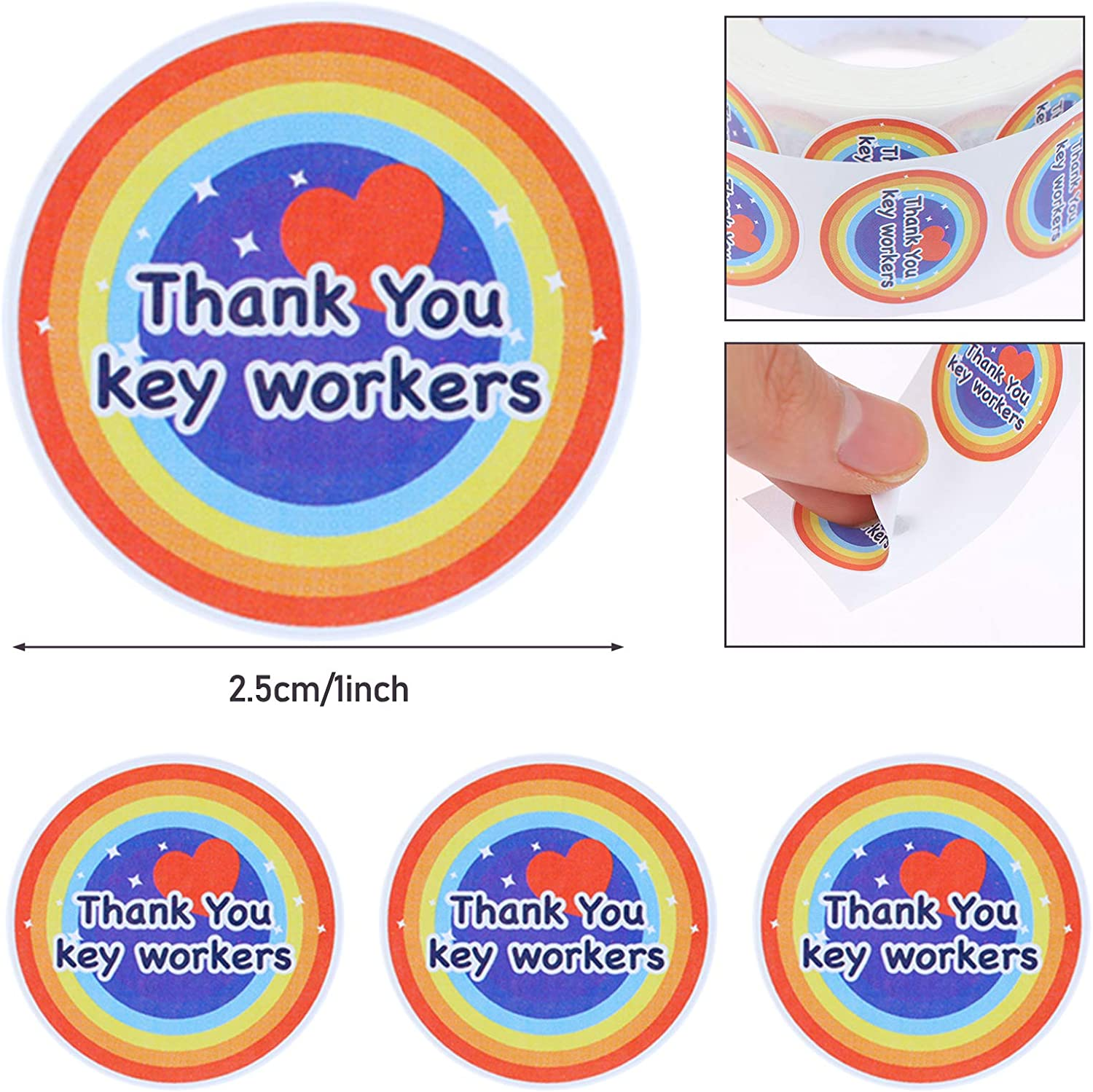 1000 Valentines Day Stickers Thank You Key Workers Label Stickers Rainbow Stickers Heart Shaped Stickers for Valentines Day Decoration Party Accessories