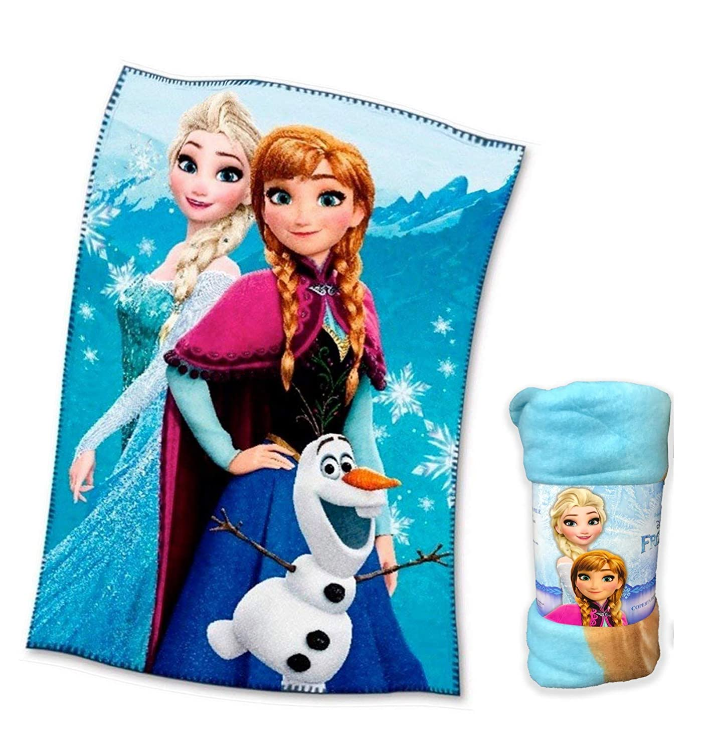 tex family PLAID COPERTA IN PILE DISNEY FROZEN cm. 100 x 150 v. blu
