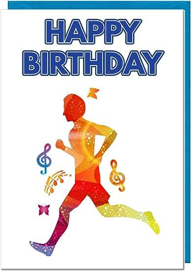 Personalised Birthday Card  Son Grandson Nephew Husband Running Jogging Marathon