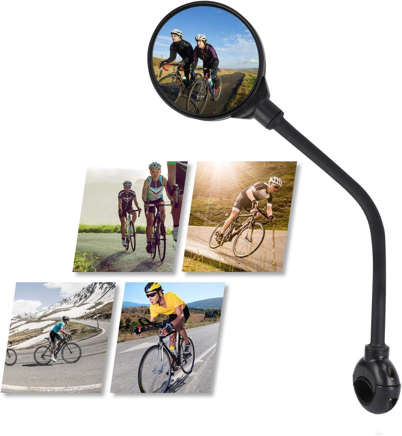 TAGVO Espejos para Bicicletas, Espejos Retrovisores Seguros de Gran Angular, 360 Grados Ajustable Rotativo Espejo Convexo montado en el Manillar para Montaña Carretera Bicicleta Ciclismo (2 Piezas): Amazon.es: Deportes y aire libre