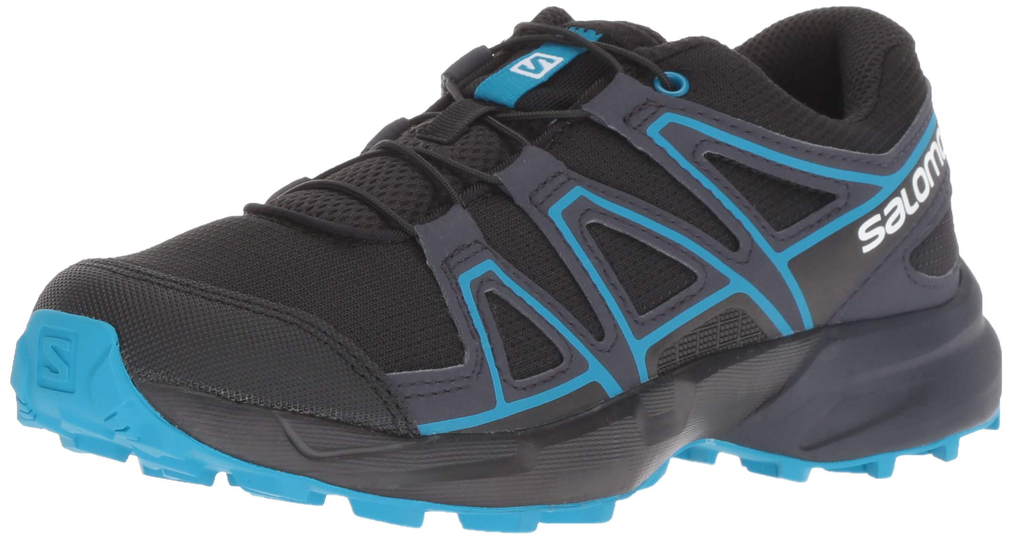 Salomon Kids Speedcross J, Trail Running Shoe, black / graphite / hawaiian surf ,  Child 5