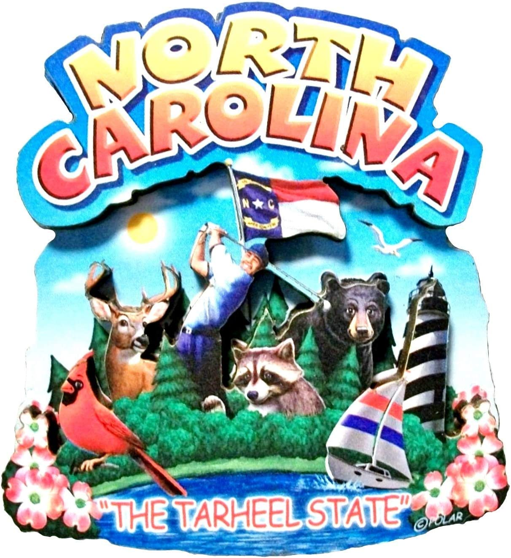 North Carolina State Montage Wood Fridge Magnet 2