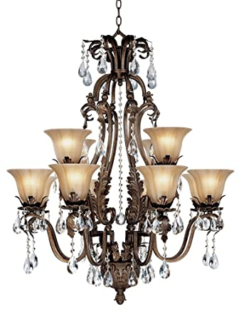 Iron Leaf Wide Bronze And Crystal Light Chandelier Amazoncom - Chandelier leaves crystals