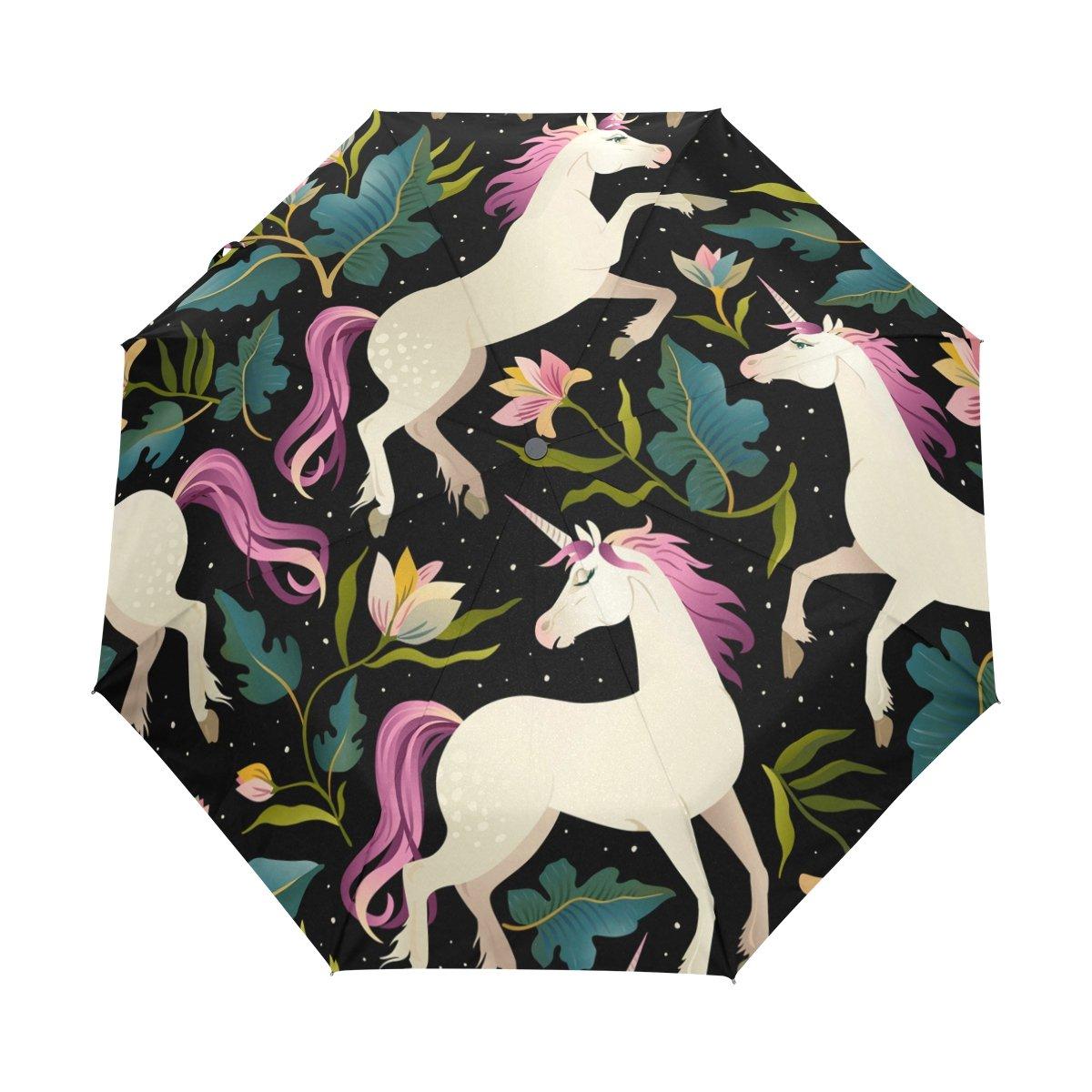 Senya Saobao防風と防雨トラベル傘with自動開いて閉じFolding美しいUnicornsポータブル折りたたみ式太陽雨傘 B07FDZ4ML8
