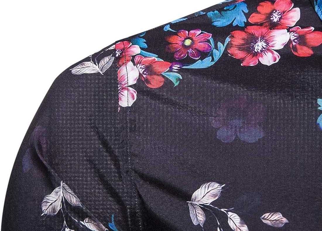 KLJR Men Floral Print Slim Fit Long Sleeve Dress Button Down Shirt