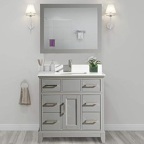 Vanity Art 36 Inch Single Sink Bathroom Vanity Set Super White Phoenix Stone