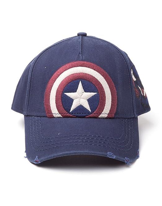 3aaf3739cb3 Bioworld EU Marvel Comics Captain America Embroidered Vintage Shield  Adjustable Cap