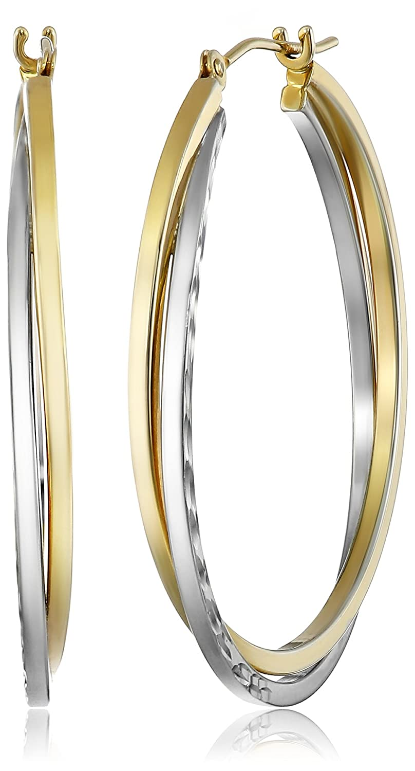 Bonded Sterling Silver and 14k Gold Hoop Earrings Amazon Collection E14-1232AGSQ-2C