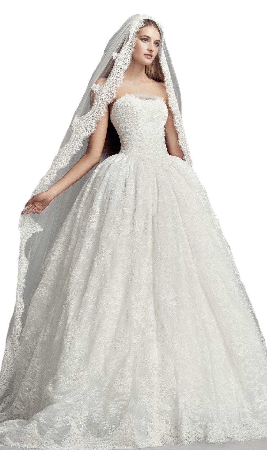 Passat Ivory XLCathedral 2T French Lace Appliqued Mantilla-Style Bridal Veil DB14