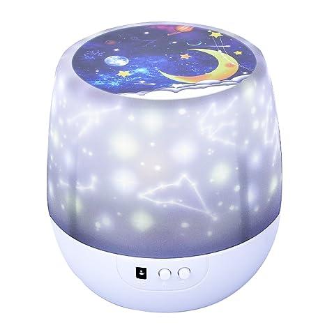 Lámpara Proyector Rotación Estrellas Luz de Noche para Niños, Arfbear Romántica Noche Estrellada Proyector de Luz para Fiesta en casa Cumpleaños ...