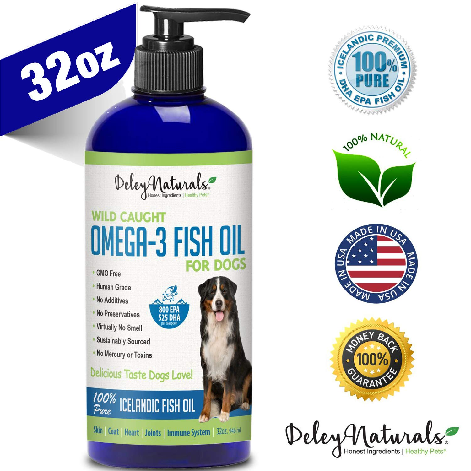 Wild Caught Fish Oil for Dogs - Omega 3-6-9, GMO-Free - Reduces Shedding, Supports Skin, Coat, Joints, Heart, Brain, Immune System - Highest EPA & DHA Potency - Only Ingredient is Fish - 32 oz by Deley Naturals