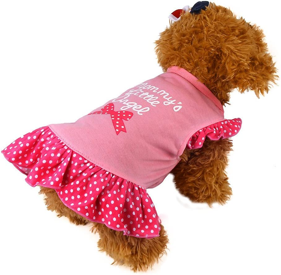 FTXJ Pet Clothes Summer Cute Pet Puppy Small Dog Cat Pet Dress Apparel Clothes Fly Sleeve Dress S, Pink