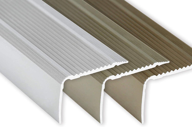 Toolerando Perfil para canto de escalera - 90 cm, forma en L, 30 x 20 mm, montaje adhesivo, bronce