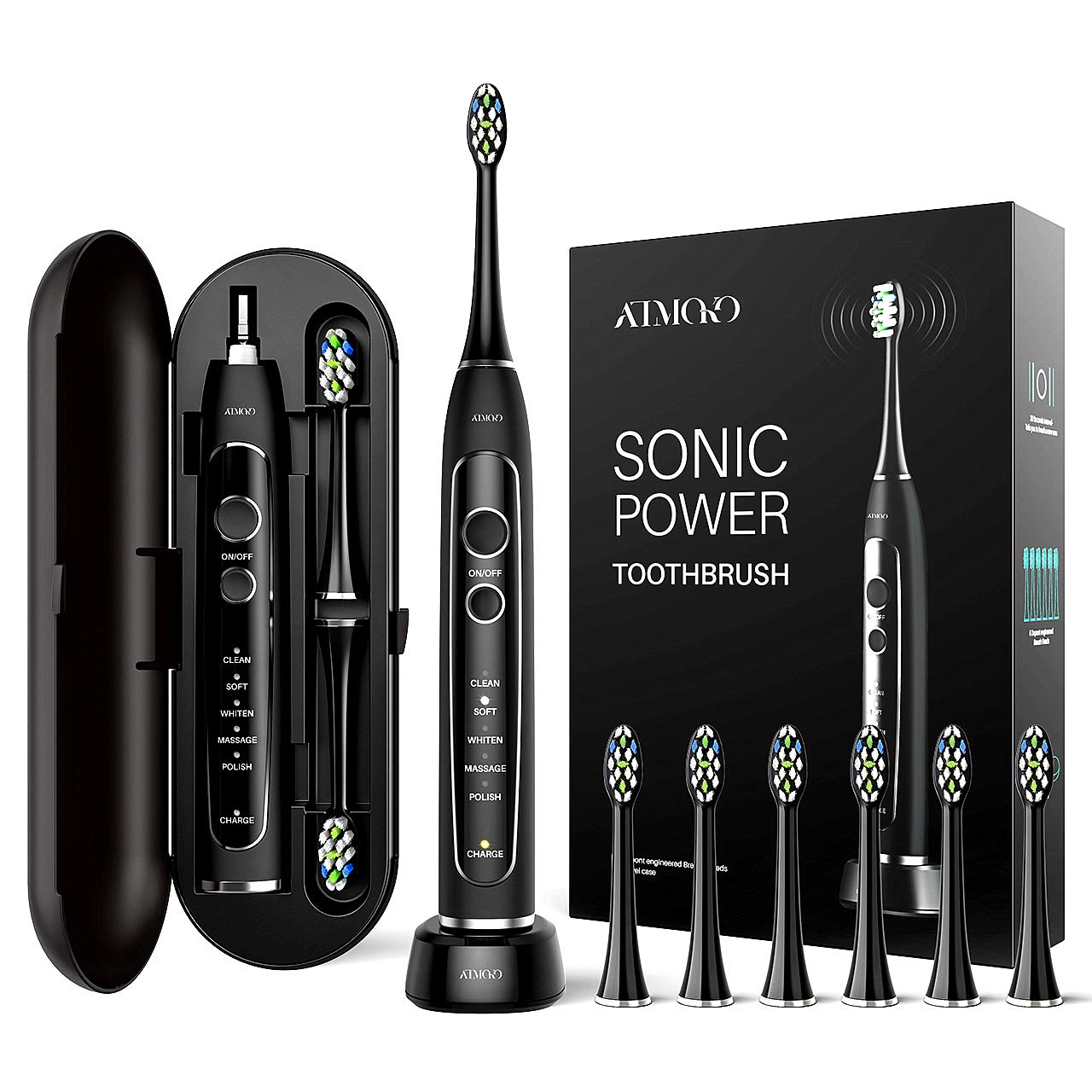 2019 Electric Toothbrush,Sonic Power Whitening Toothbrush with 40,000 VPM Motor+5 Modes Wireless Charging with Travel Case & 6 Indicator DuPont Brush Heads ATMOKO by ELLESYE (Dentists recommend) by ELLESYE