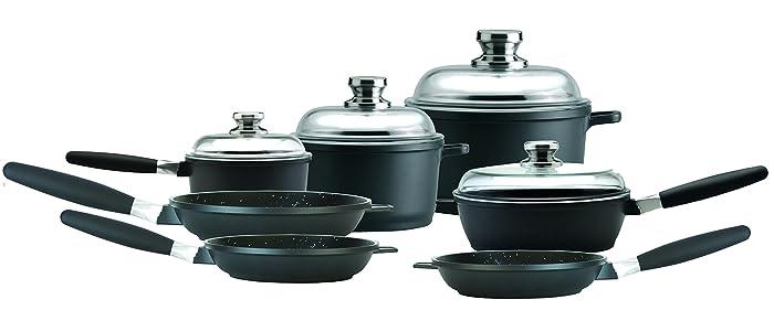 """Amazon Eurocast Cookware Deluxe Set includes 1.2 Qt Sauce Pan (6.25""""), 3.2Qt Stock Pot (8""""), 7.4Qt Stock Pot (11""""), 9.5"""" Saute Pan, 9.5"""", 8"""", 11"""" Fry Pan"""