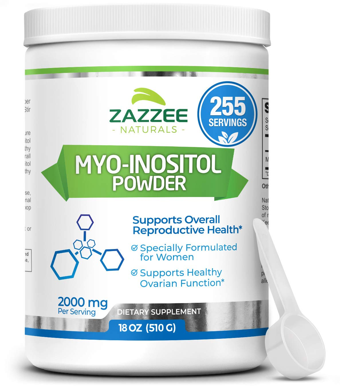 Zazzee Myo-Inositol Powder, 255 Servings, 18 Ounces (510 g), 2000 mg per Serving, Includes Free Scoop for Exact Dosage, 100% Pure, Vegan and Non-GMO by Zazzee