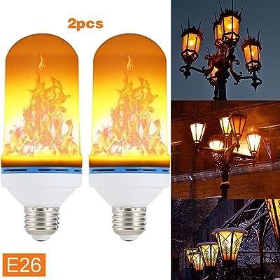 Dxlta E26 / E27 Ampoules à flamme LED, Effet de lumière de feu Simulé de nature - Bulbes de maïs - Lampe de décoration de Noël (2pcs E26)